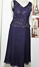 EGGPLANT BEADED VINTAGE COCKTAIL  DRESS, CRUISE,WEDDING  MOTHER OF BRIDE 14