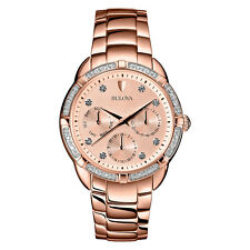 Bulova Women's 98R178 Diamond Accent Rose Gold-Tone Multi-Function Dial Watch