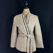 Samband Iceland Icelook Small New Wool Open Wrap Cardigan Sweater Lined Belted