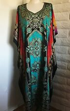 Sante 3X 4X 5X 1SFM Teal Gold Foil Kaftan Coverup Lounger Dress Muumuu Caftan