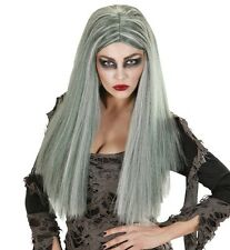 Ladies Grey Witch Wig Long Scary Zombie Halloween Buffy Vampire Fancy Dress