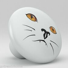 White Cat Face Ceramic Knobs Kitchen Drawer Cabinet Vanity Closet Pulls 695
