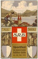 POSTCARD SWISS 1921 BICYCLE LEAGUE SPORTS FESTIVAL