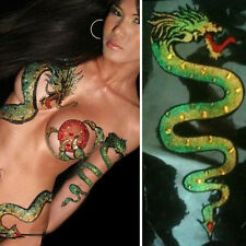 Spit Fire Green Dragon Body Sticker Ninja Arm Tattoo Sleeve Glitter Rhinestones