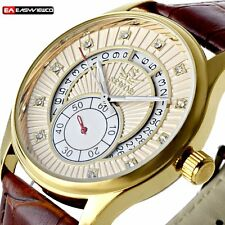 Luxury New Stainless Skeleton Leather Automatic Wrist Watch Mechanical Sport Men