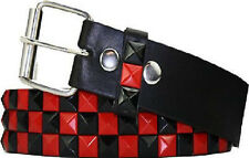 Pyramid Studded Snap On Leather Belt XL 40-44 Red/Blk