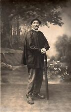 BL527 Carte Photo vintage card RPPC Homme costume traditionnel berger canne