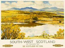 ART PRINT POSTER VOYAGE TOURISME TRAIN sud-ouest de l'Écosse rivière pittoresque nofl1263