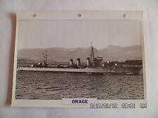 CARTE FICHE NAVIRES DE GUERRE ORAGE 1926 TORPILLEUR