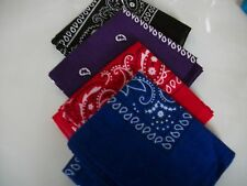FOUR PACK BLUE,RED,PURPLE,BLACK  PAISLEY  BANDANNAS  FREE fast post 1st class
