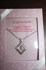 Breast Cancer Awareness EXPRESSIONS W/ PINK RIBBON PENDANT NECKLACE New!!