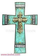 Turquoise Fleur De Lis Decorative Wall Cross Layered Gold Cross Rhinestones