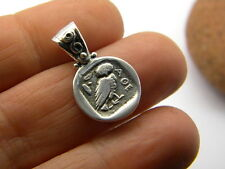 Sterling silver pendant owl - Athena small greek coin old drachma reproduction