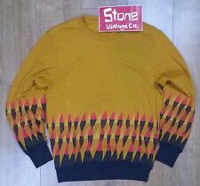Levi's Made & Crafted Mustard Red Geometric Crew Neck Sweater Jumper £175 New M