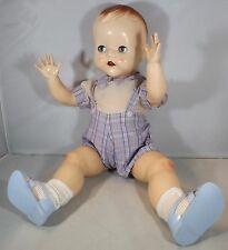 "VINTAGE 1950s LARGE 20"" PEDIGREE HARD PLASTIC STRAIGHT LEG BABY DOLL FLIRTY EYES"