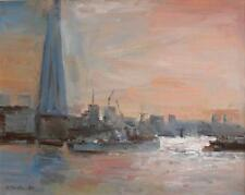 SUPERB ORIGINAL MARTIN ULBRICHT OIL LONDON THAMES  BELFAST SHARD TOWER  PAINTING