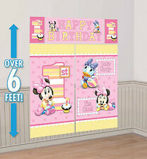 BABY MINNIE MOUSE girl's 1st Happy Birthday Scene Setter first Party wall decor