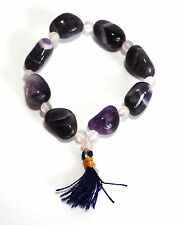 REIKI ENERGY CHARGED NATURAL AMETHYST CRYSTAL TUMBLE STONE BRACELET HEALING GIFT