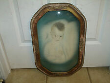 HUGE ANTIQUE CONVEX BUBBLE GLASS WOOD FRAME w/ANTIQUE COLORED PHOTO of a BABY