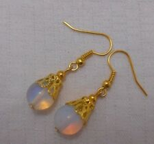 Unique handmade gold plated earrings round opalite beads + free stoppers