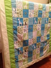 4 Pieces, Quilt baby bedding set, Handmade, Multi-Color, Jungle Theme for boys.