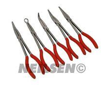 """5pc Professional 11"""" Extra Long Reach Pliers Set Plier Set Soft Grip Handle New"""