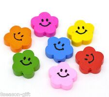 50 Mixed Color Cute Smiling Flower Wood Beads 20x20mm