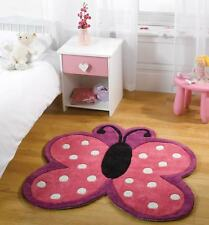 Polka Butterfly Kids / Childrens Square Play Rug 90x90cm