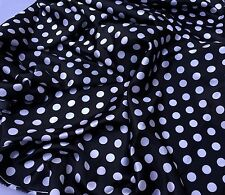 Black/White 1/2inch Polka Dot Soft/Silky Charmeuse Satin Fabric. By The Yard.