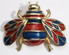 Vintage Gold Tone Crystal Rhinestone Red Blue Enamel Beetle Insect Brooch Pin