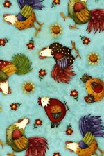 Fat Quarter Folk Art Style Chickens Farmville Cotton Quilting Fabric  50 x 55cm