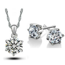 Bridal Jewellery Set Diamond White Small Zircon Stud Earrings & Necklace S537