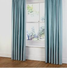 "B&Q FAUX SUEDE  RING TOP LINED CURTAINS  in DUCK EGG/LIGHT/BABY BLUE  54"" X 72"""