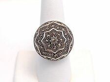 Vintage Detailed Marcasite & Sterling Silver Wide Dome Ring Size 8.5 .925 b069
