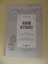Opera Libretto  Madame Butterfly Puccini 1954 Illica, Giacosa, Martin English