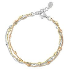 TRI COLOR BEAD BRACELET 3 STRAND YELLOW/ WHITE/ ROSE GOLD OVER STERLING 7 to 8in