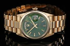Rolex Yellow Gold Day-Date President 1803, Green Index on a Presidential Band