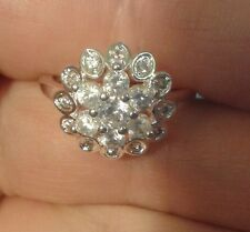 Ring 925 Sterling Silver 19 Diamond Cluster size S Classic Engagement Gift
