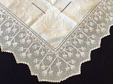 Gorgeous Edwardian Vintage Irish Linen Tablecloth Crocheted Edging & Embroidery