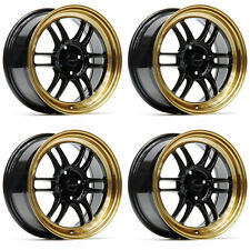 "ULTRALITE F1 15"" x 7J ET35 4x100 BLACK BRONZE LIP ALLOY WHEELS RPF1 STYLE Y3141"
