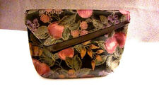 Clutch Handbag Black Multi Floral Back Slip Pocket Pretty Shape Interesting GUC
