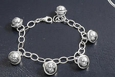 Stunning Bracelet with Bell Charm Sterling Silver 925 Jewelry Gift 7 inches