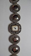 GENEVA SILVERTONE METAL ROUND BEADED LINK WATCH D160 TOGGLE CLOSURE