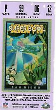 2002 SUPERBOWL XXXVII TICKET STUB TAMPA BAY vs. OAKLAND RAIDERS