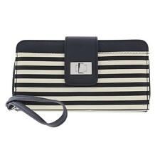 NWT Kenneth Cole Reaction Womens Faux Leather Striped Print Clutch Wallet