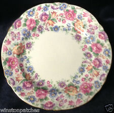 "CROWN STAFFORDSHIRE ENGLAND SPRINGTIME DESSERT OR PIE PLATE 7 1/8"" FLORAL CHINTZ"
