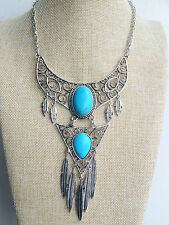 Silver Tibet Boho Chic Vintage Style Bohemian Turquoise Gypsy Tassel Necklace UK