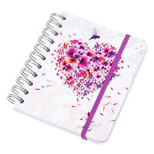 Small A6 A-Z Contact Address Book Floral Bird Heart White Purple Note Memo Pad