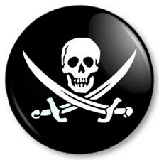 Jolly Roger 25mm Pin Button Badge Halloween Skull and Crossbones Pirates Swords