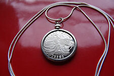 "BIG ANTIQUE AFRICAN LION COIN Pendant on a 30"" 925 Sterling Silver Plate Chain"